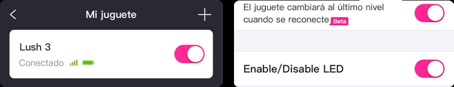 Tiene la opción de habilitar o no la luz LED en Lush 2da Generación al usar la app Lovense Remote.