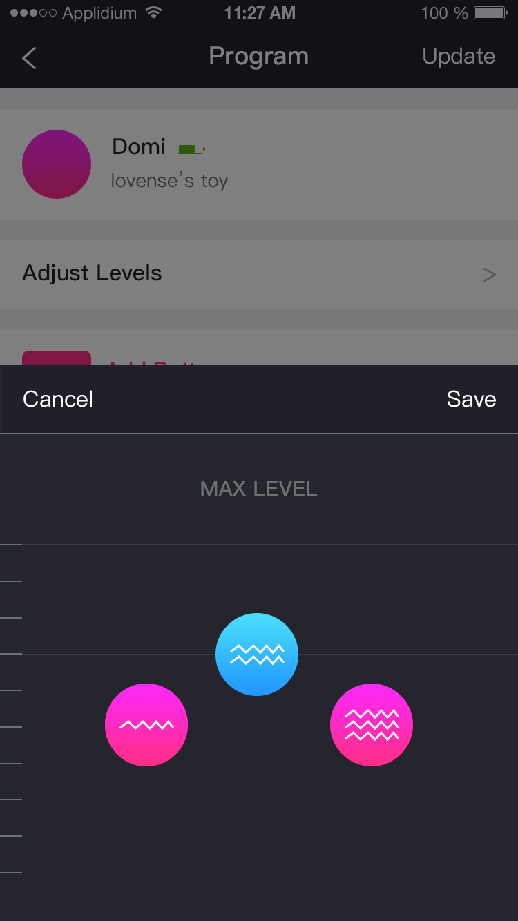 The Lovense Remote app screenshot: 3 steady levels.