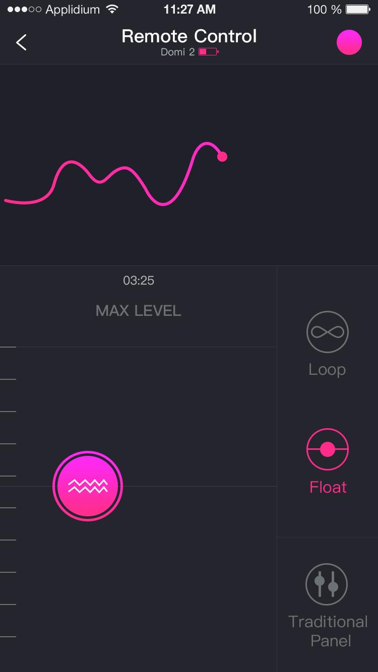 La app Lovense Remote: desliza el control remoto.