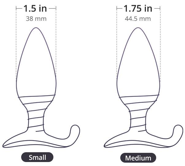 Hush by Lovense. Disponible en 2 tamaños: 1.5 pulgs. y 1.5 pulgs. de diámetro.
