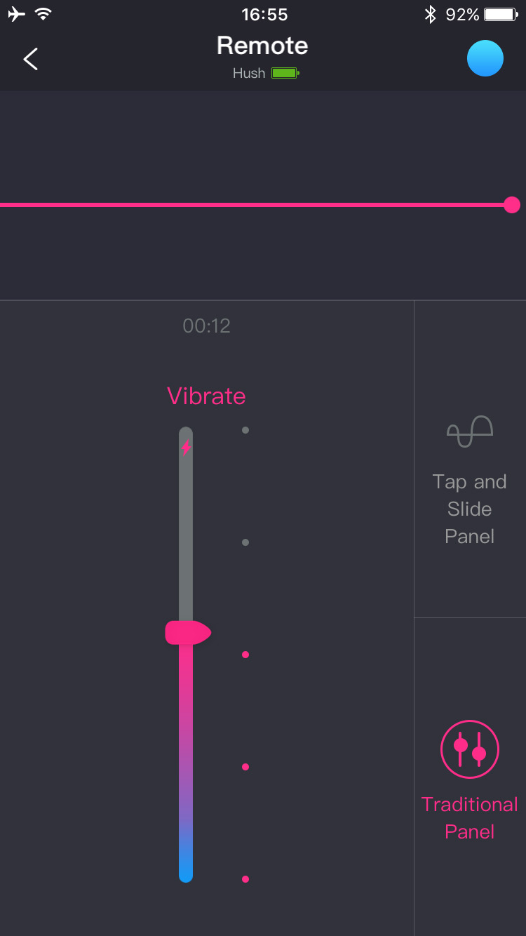 Screenshot de l'application Lovense Remote : Contrôle traditionnel des vibrations.