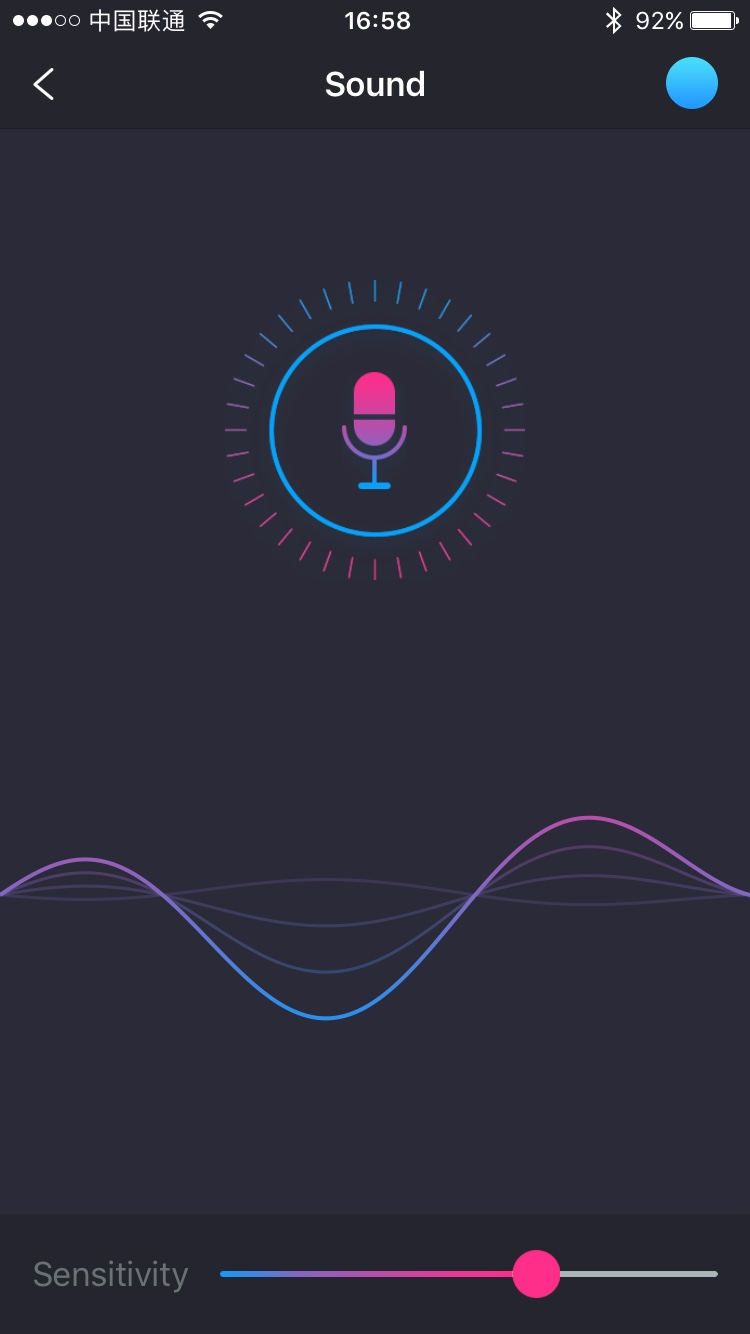 Captura de pantalla de Lovense Remote: activación por sonido.