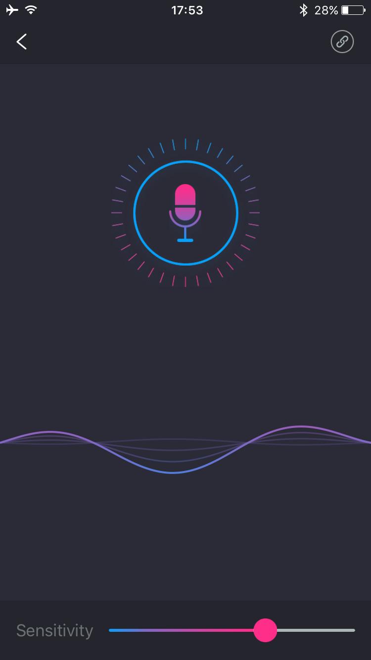 Lovense Remoteアプリのスクリーンショット:サウンドアクティベイトシステム
