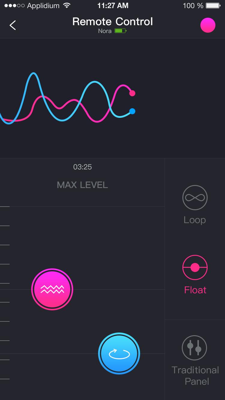 Lovenseのリモートアプリのスクリーンショット:タップとスライドリモートコントロール