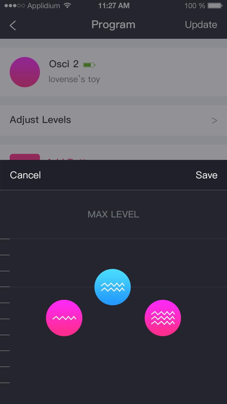 Скриншот приложения Lovense Remote: 3 уровня мощности.