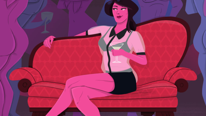 Cartoon woman on sofa.