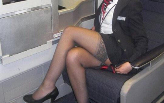 stewardess showing stockings