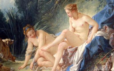 Classic painting of women bathing